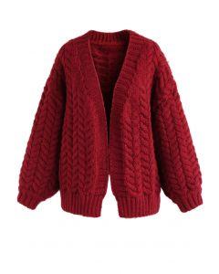 Cárdigan grueso para tejer en rojo