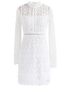 Vestido recto con paneles de crochet floral de Ladylike en blanco