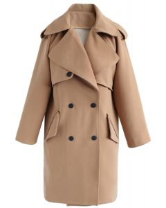 Trendy Sensation Double Breasted Trench Coat in Tan