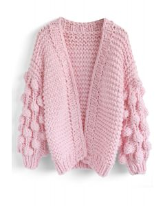 Cuteness on Sleeves Cardigan grueso en rosa caramelo