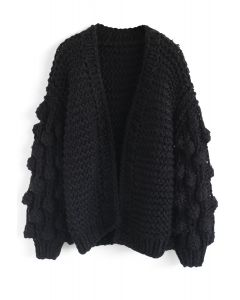 Cuteness on Sleeves Cardigan grueso en negro