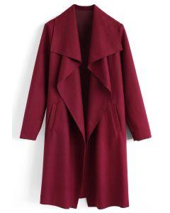 Abrigo de mezcla de lana con frente abierto y libre en vino