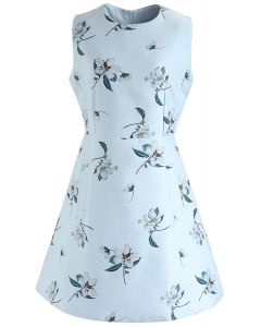 Greeting From Flowers Sleeveless Jacquard Dress in Mint