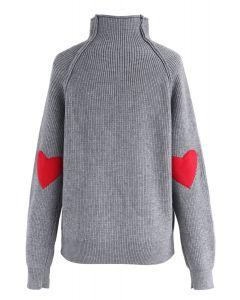 Suéter de punto con parche de corazón y alma en gris