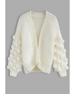 Cuteness on Sleeves Cardigan grueso en blanco