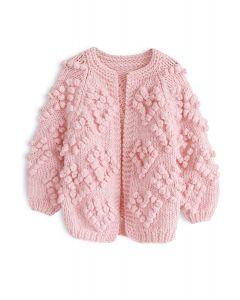 Cárdigan de punto de amor en rosa para niños