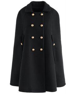 Manténgalo elegante abrigo de doble botonadura en negro