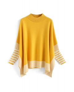 Acuéstate en suéter de punto de rayas extragrandes a rayas mostaza