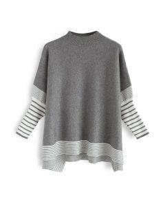 Acuéstate en suéter de punto de rayas extragrandes de rayas grises Fields