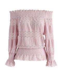Restez Mignonne Haut côtelé à épaules dénudées rose