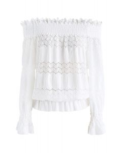 Stay Cute Ribbed Top Off White Shoulder