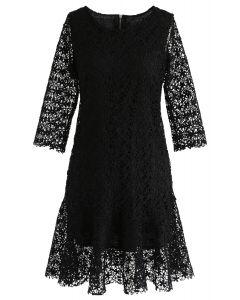 Flowering Glee Crochet Dress in Black