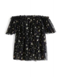 Túnica sin hombros con malla Shining Out Mesh en negro para niños