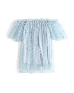 Túnica sin hombros con malla Shining Out Mesh en azul claro para niños