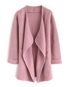 Abrigo abierto de punto en rosa