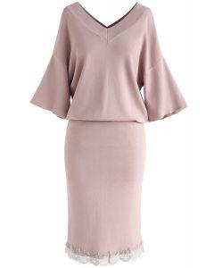 Conjunto de falda y top de punto con cuello en V True Refinement en rosa polvoriento