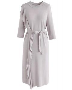 Levanta tu vestido de punto de elegancia en gris