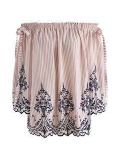 Top sin hombros bordado con rayas dobles de bowknot en rosa
