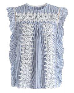 Top sin mangas Crochet Reverie en rayas
