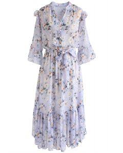 By My Side Vestido de gasa con volantes asimétricos florales en lila