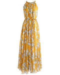 Vestido largo sin mangas de gasa de Flower Season en amarillo
