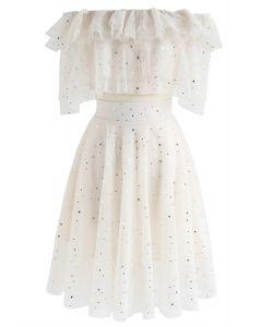 Conjunto de falda y top corto de malla con gradas Sparkle Tonight en crema