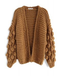 Cuteness on Sleeves Cardigan grueso en caramelo