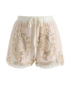 Shinning Pearls Shorts de gasa con ribetes en crema