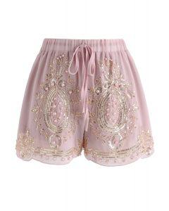 Shorts de gasa con perlas brillantes en rosa