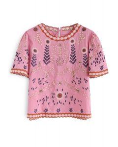Top bordado adorable estilo Boho en rosa