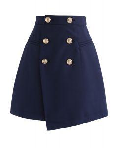 Medalla de Vogue Flap Bud falda en azul marino
