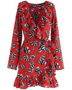 Vestido con volantes cruzados Deep Dream of Floral en rojo