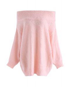 Suéter largo con hombros descubiertos y estampado Dreams en rosa