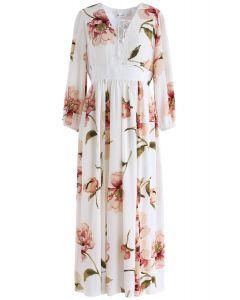 Vestido largo de gasa floral de Sweet Things en crema