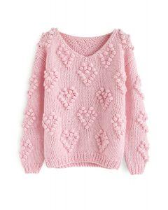 Suéter con cuello en V de punto de su amor en rosa