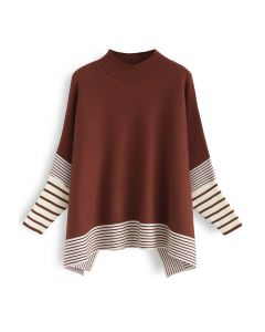 Acuéstate en suéter de punto de rayas extragrandes de caramelo Fields