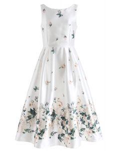 Vestido de fiesta estampado Fallen Rosa en blanco