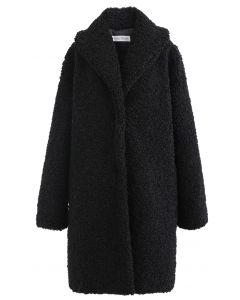 Sensación de calor abrigo largo de piel sintética en negro