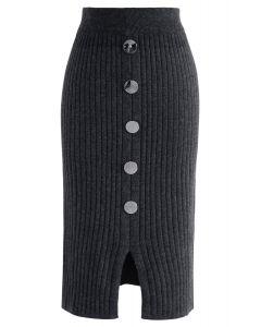 Abotone la falda lápiz de punto acanalado Charm en gris