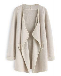Abrigo abierto de lino recién tejido