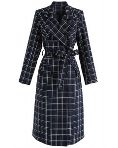 Wander My Way Grid Trench Coat in Navy