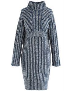 Stylish Glory Peplum Sweater Dress in Blue