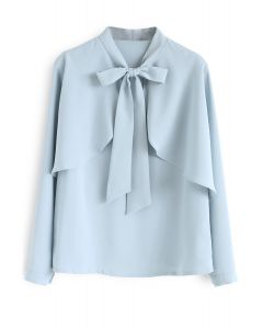 Aplastarse en la parte superior casual Bowknot Cape Sleeves Top en azul