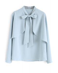 Aplastarse en la parte superior casual Bowknot Cape Sleeves Top en azul