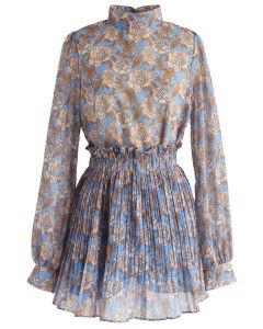 Conjunto de falda y top de chifón floral brillante en azul