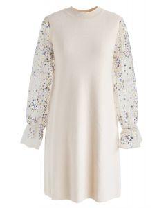 Vestido recto de punto con lentejuelas brillantes en crema