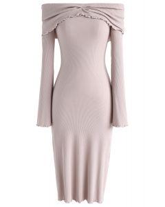 Vestido de punto con hombros descubiertos Dream Pink en Nude Pink