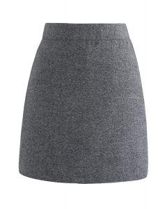 Falda Bud de estilo elegante con mezcla de lana en gris