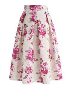 Falda midi plisada en relieve floral vintage en crema