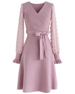 There You Go Wrap Knit Dress in Lilac